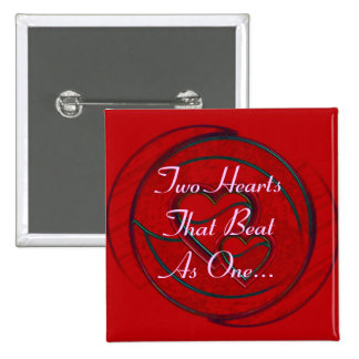 Double Hearts Two Hearts That Beat As One 2 Inch Square Button