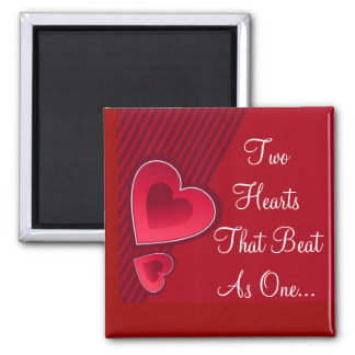 Double Hearts Two Hearts That Beat As One Refrigerator Magnet