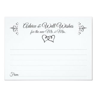 Double Hearts Wedding Advice and Well Wishes Cards