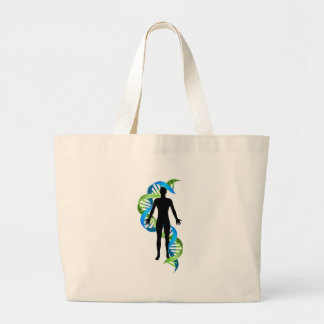 Double Helix DNA Chromosome Strand Human Figure Large Tote Bag