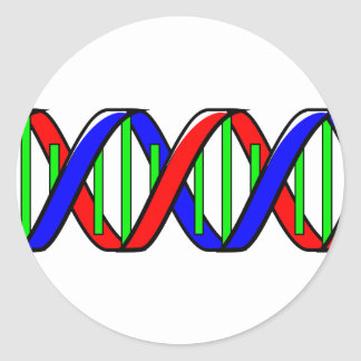 double helix round sticker