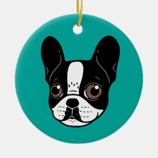 Double Hooded Pied French Bulldog Puppy Ceramic Ornament
