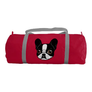 Double Hooded Pied French Bulldog Puppy Gym Bag