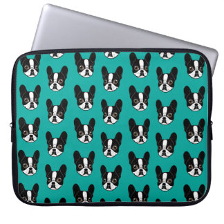 Double Hooded Pied French Bulldog Puppy Laptop Sleeve