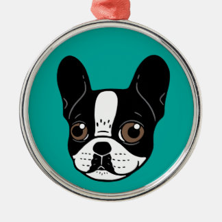 Double Hooded Pied French Bulldog Puppy Metal Ornament