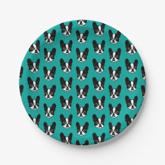 Double Hooded Pied French Bulldog Puppy Paper Plate
