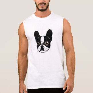 Double Hooded Pied French Bulldog Puppy Sleeveless Shirt
