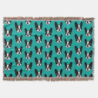Double Hooded Pied French Bulldog Puppy Throw Blanket