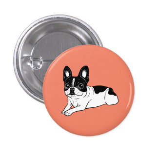 Double Hooded Pied Frenchie 1 Inch Round Button