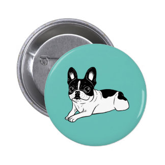 Double Hooded Pied Frenchie 2 Inch Round Button