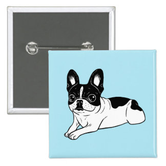 Double Hooded Pied Frenchie 2 Inch Square Button
