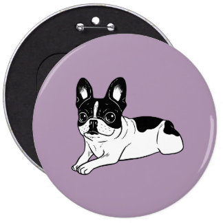 Double Hooded Pied Frenchie 6 Inch Round Button