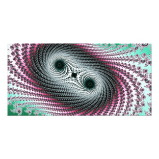Double Hurricane - green and pink fractal design Photo Greeting Card