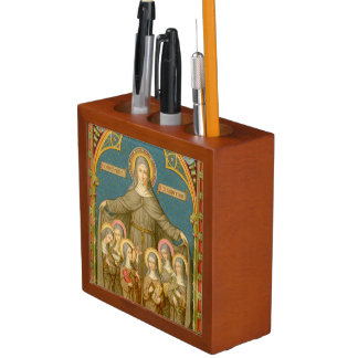 Double Image St. Clare of Assisi & Nuns (SAU 27) Desk Organizer