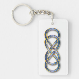 Double Infinity Cloisonne' Blue/Gold - Key Chain