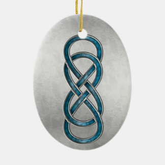 Double Infinity Cloisonne' Marbled Aqua2 -Ornament Ceramic Ornament