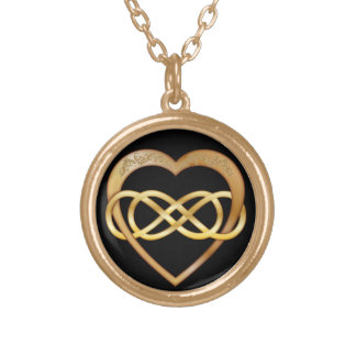 Double Infinity Gold Heart 2 - Necklace