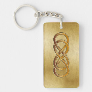 Double Infinity Marbled Amber - Key Chain
