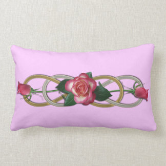 Double Infinity Silver Gold Roses Lumbar Pillow
