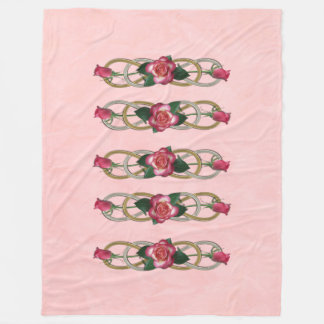 Double Infinity Silver Gold Roses + your backgr. Fleece Blanket