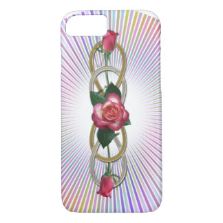 Double Infinity Silver Gold Roses + your backgr. iPhone 7 Case