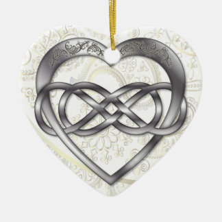 Double Infinity Silver Heart 1 - Ornament