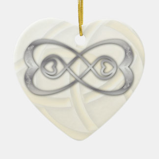 Double Infinity Silver Hearts on White Heart 1 Ceramic Heart Ornament