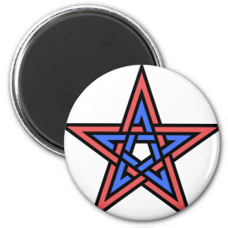 Double-interlaced-pentagram 2 Inch Round Magnet