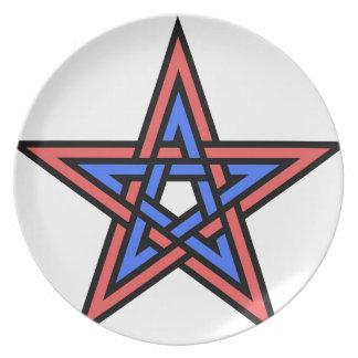 Double-interlaced-pentagram Plate