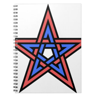 Double-interlaced-pentagram Spiral Notebooks