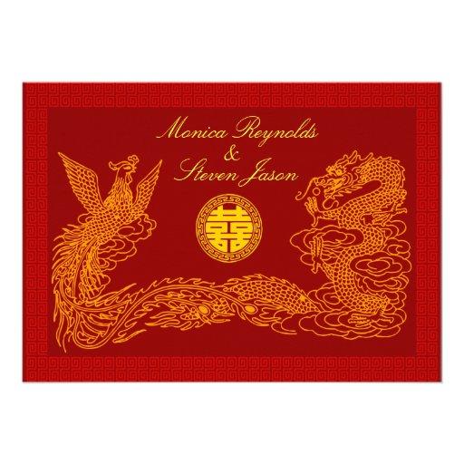 Double invitati rouge chinois de mariage du bonheu bristol personnalisé