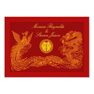 Double invitati rouge chinois de mariage du bristol personnalisé