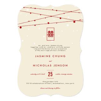 Double mariage chinois rouge de quirlandes carton d'invitation  12,7 cm x 17,78 cm