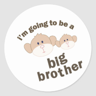 Double Monkey Big Brother T-shirt Round Sticker
