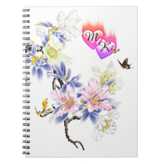 Double Monogram Flaming Hearts with Flowers Notebooks