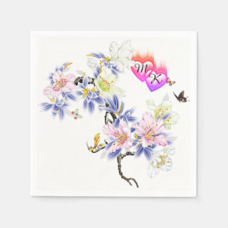 Double Monogram Flaming Hearts with Flowers Paper Napkins