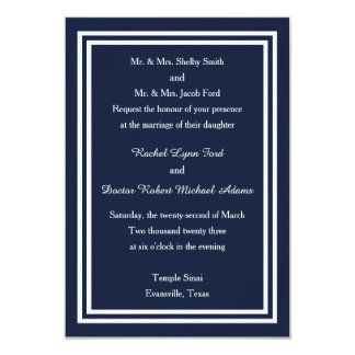 Double Navy Trim -3x5 Wedding Invitation