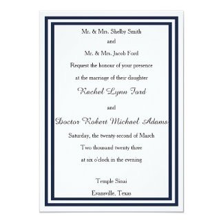 Double Navy Trim -5x7Wedding Invitation