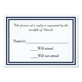 "Double Navy Trim - RSVP Card 3.5"" X 5"" Invitation Card"