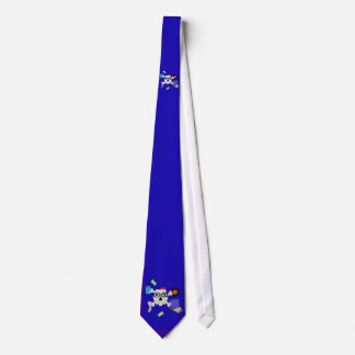 double nerdy skull and crossbones blue tie