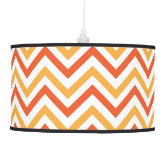 Double Orange Chevron Pendant Lamp