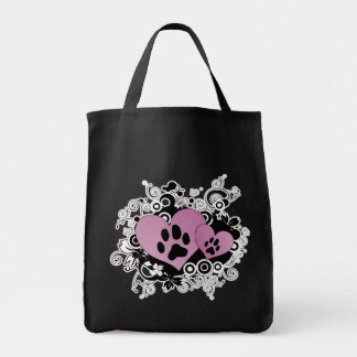 Double Paw Valentine Hearts - Pink Grocery Tote Bag