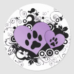 Double Paw Valentine Hearts - Purple Round Sticker