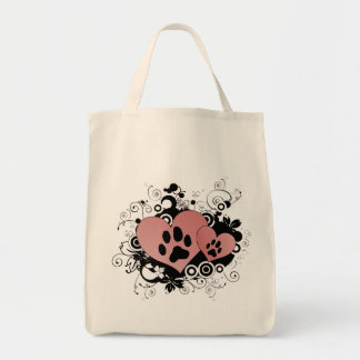 Double Paw Valentine Hearts - Red Grocery Tote Bag