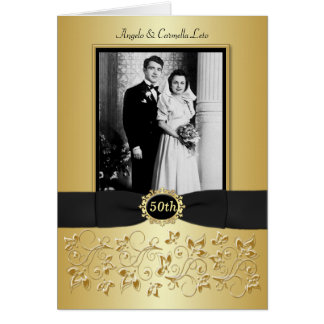 Double Photo 50th Anniversary Invitation Card