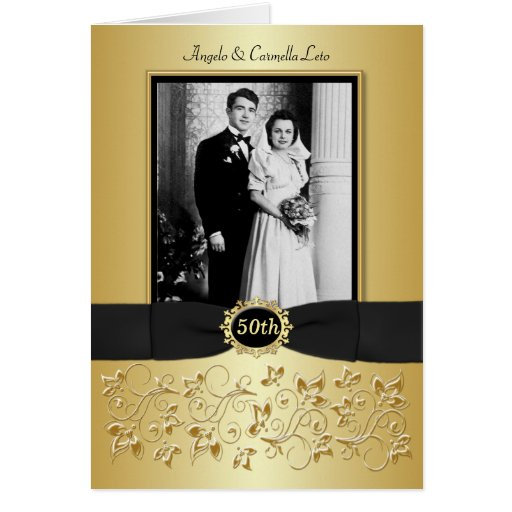 Double Photo 50th Anniversary Invitation Card Greeting Cards
