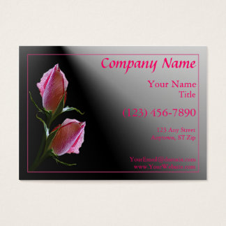 Double Pink Rose Black Profile Card
