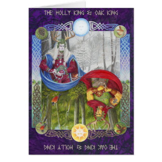 Double Portrait of the Oak King and Holly King Card