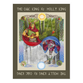 Double Portrait of the Oak King and Holly King Postcard