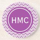 Double Purple Chevron Monogram Coaster